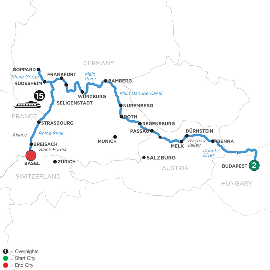 River Cruise Map of Enchanted Europe with 2 Nights in Budapest for Beer Enthusiasts (Westbound)