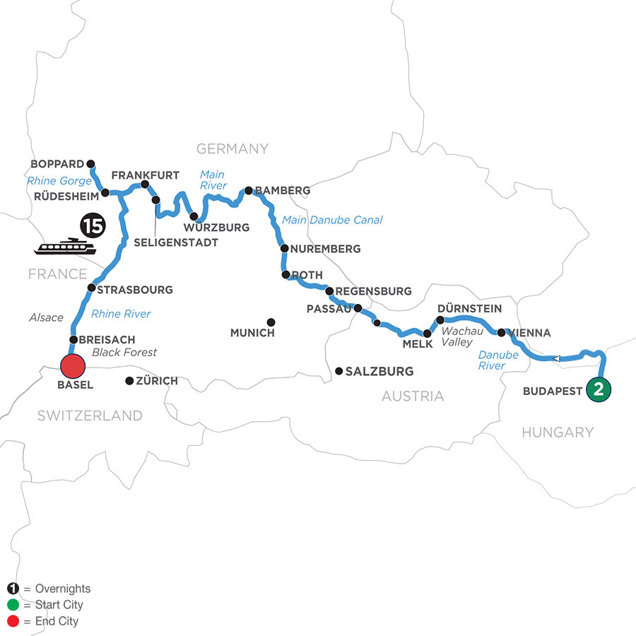 River Cruise Map of Enchanted Europe with 2 Nights in Budapest (Westbound)