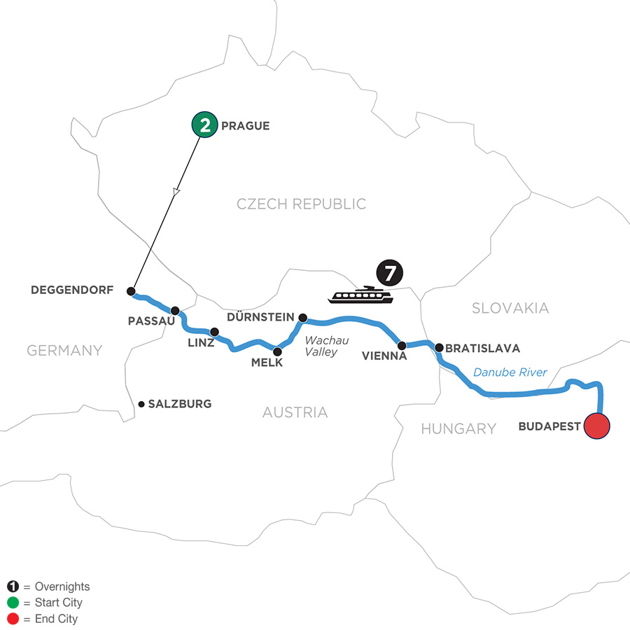 River Cruise Map of Danube Dreams with 2 Nights in Prague with Habsburg & Royalty (Eastbound)