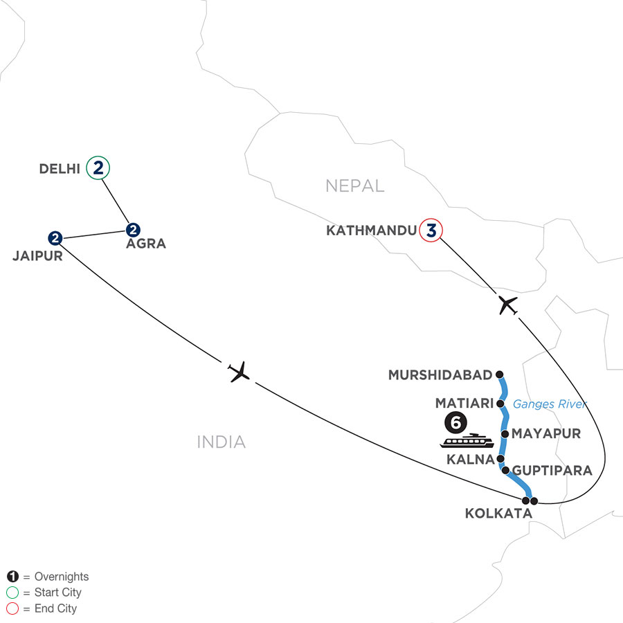 River Cruise Map of Colorful India & the Ganges River with Kathmandu