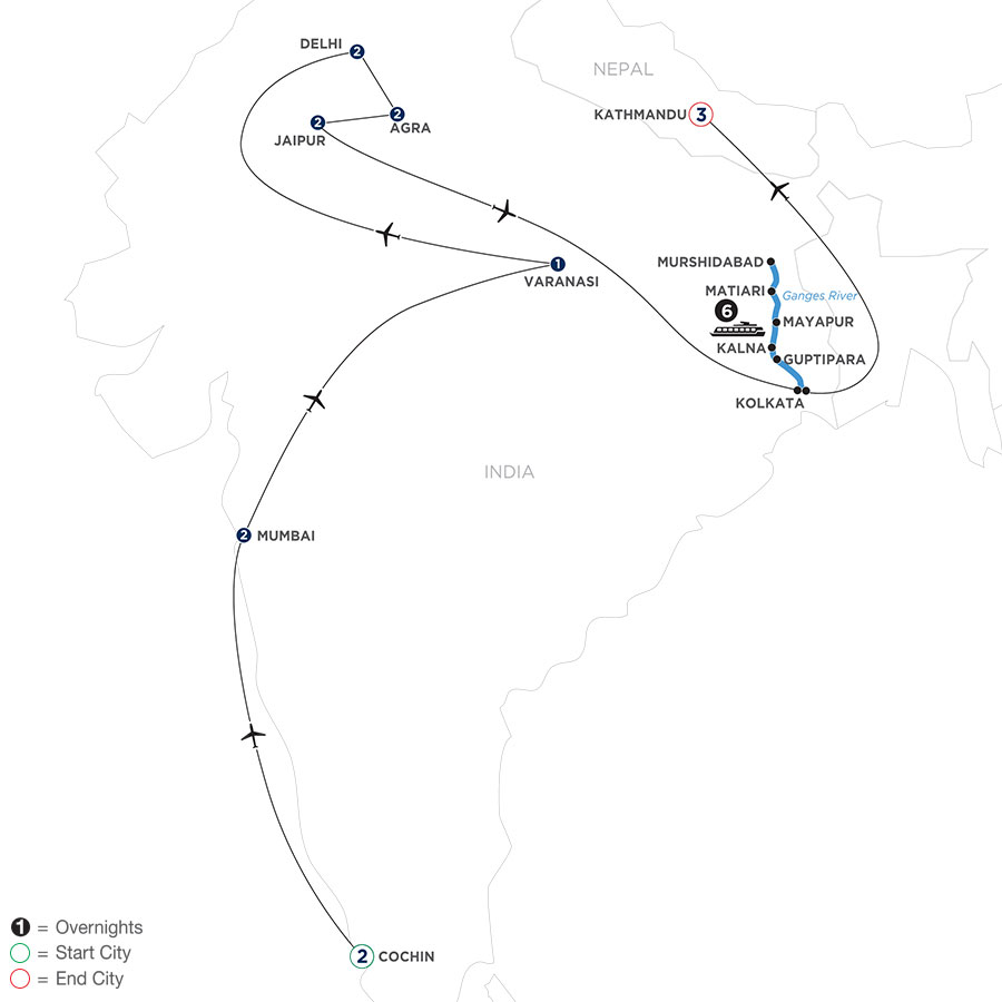 River Cruise Map of Colorful India & the Ganges River with Southern India, Varanasi & Kathmandu
