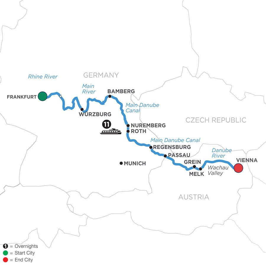 River Cruise Map of Christmastime from Mainz to Vienna