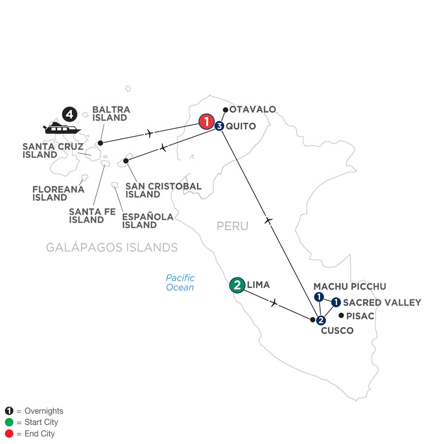 River Cruise Map of Discover the Galápagos & Peru
