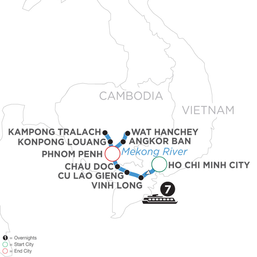 River Cruise Map of Mekong Discovery (Northbound)