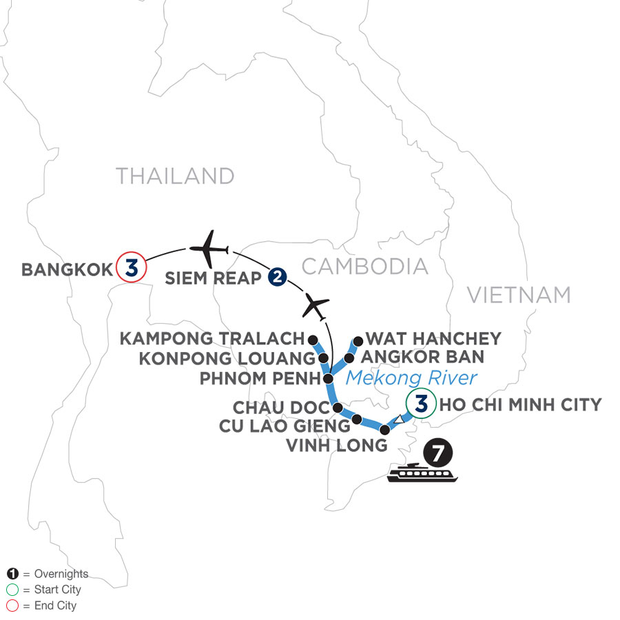 River Cruise Map of Fascinating Vietnam, Cambodia & the Mekong River with Bangkok (Northbound)