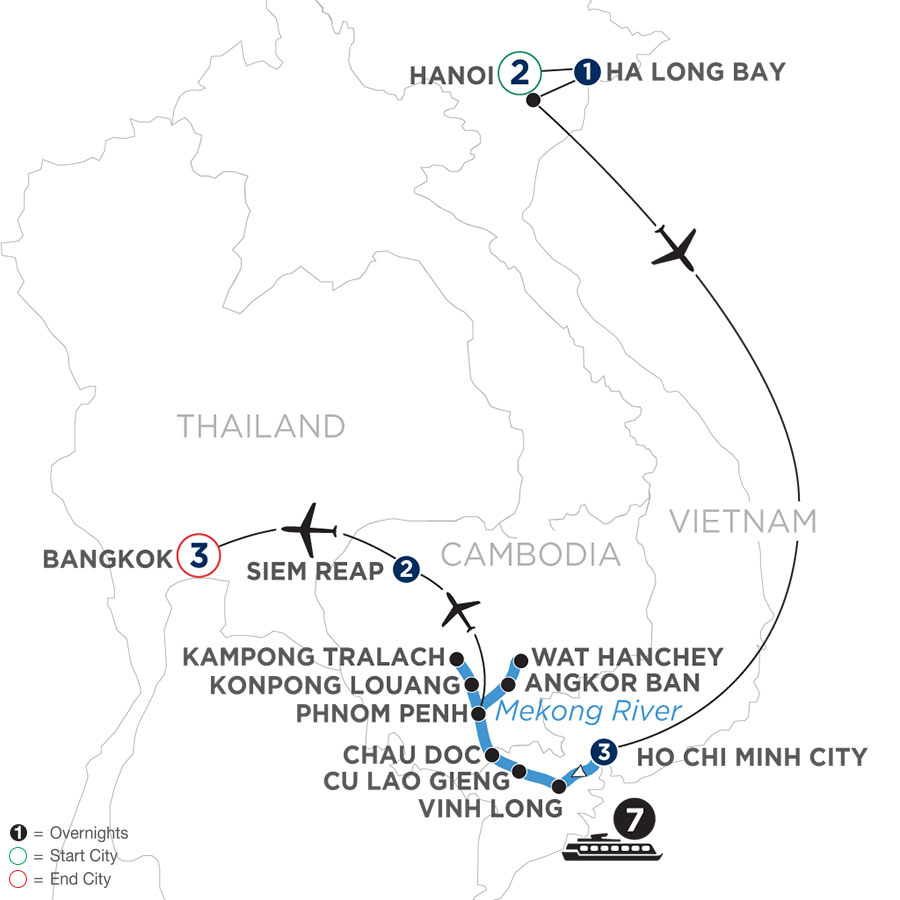 River Cruise Map of Fascinating Vietnam, Cambodia & the Mekong River with Hanoi, Ha Long Bay & Bangkok (Northbound)