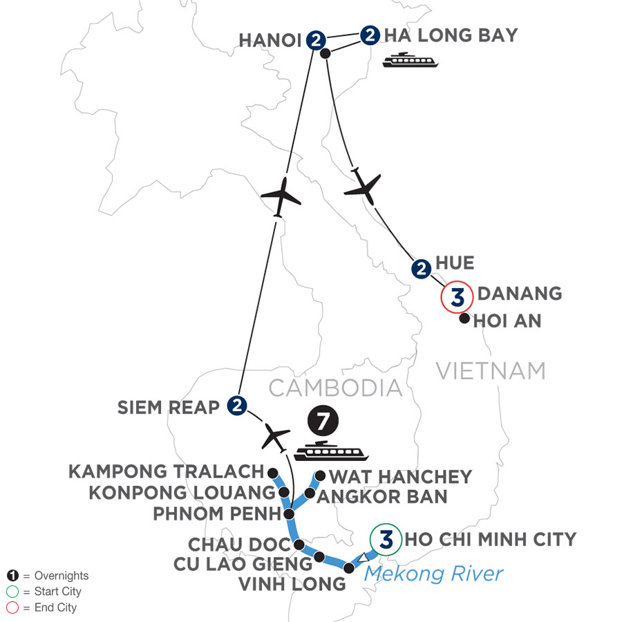 River Cruise Map of The Heart of Cambodia & Vietnam with Hue & Danang – (Northbound)
