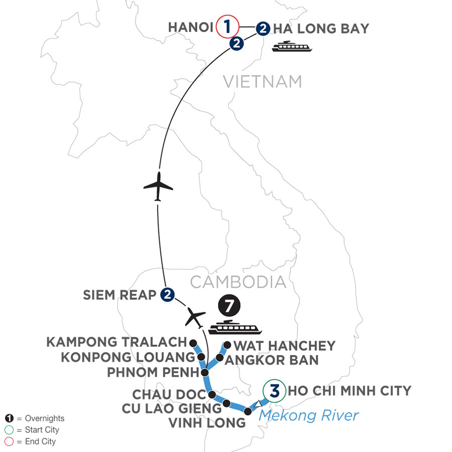 River Cruise Map of The Heart of Cambodia & Vietnam – (Northbound)