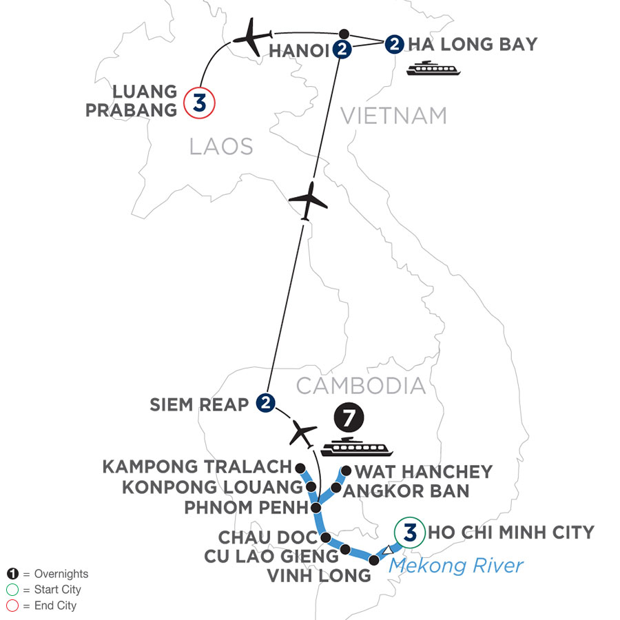 River Cruise Map of The Heart of Cambodia & Vietnam with Luang Prabang (Northbound)