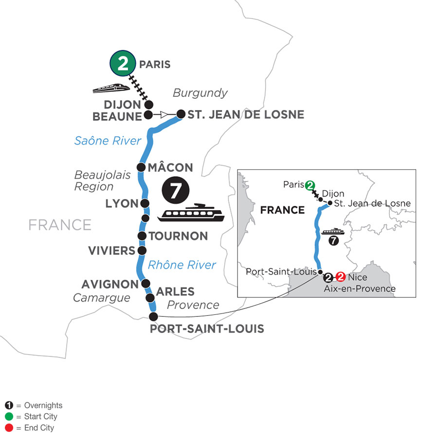 River Cruise Map of Burgundy & Provence with 2 Nights in Paris, 2 Nights in Aix-en-Provence & 2 Nights in Nice (Southbound)