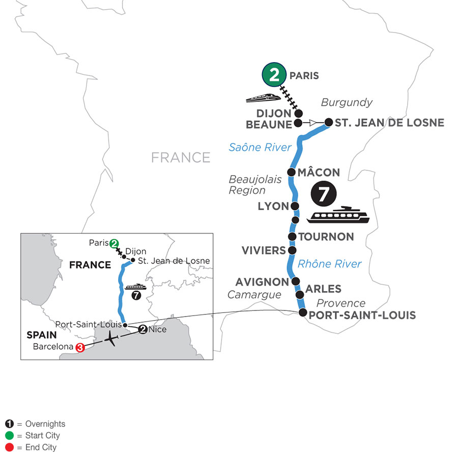 River Cruise Map of Burgundy & Provence with 2 Nights in Paris, 2 Nights in Nice & 3 Nights in Barcelona (Southbound)