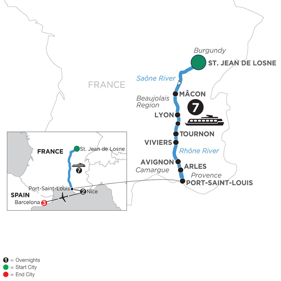 River Cruise Map of Burgundy & Provence with 2 Nights in Nice & 3 Nights in Barcelona (Southbound)