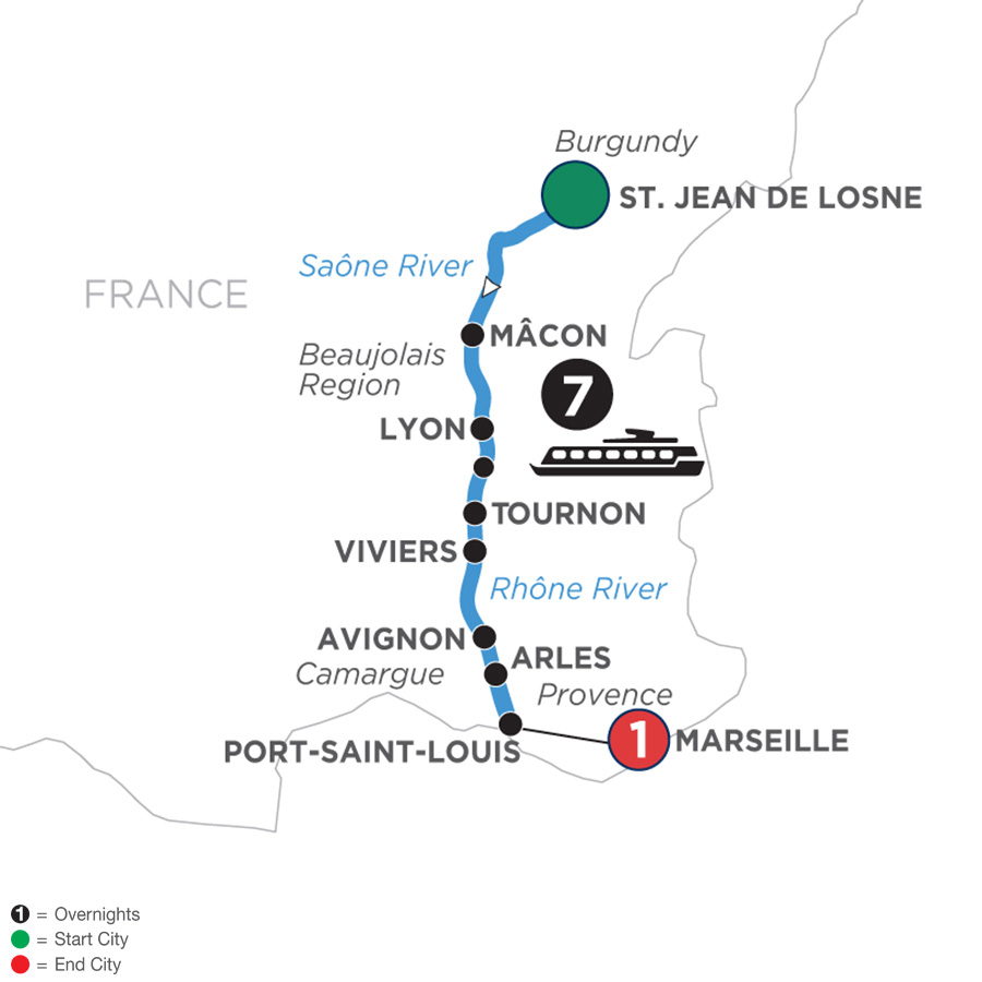 River Cruise Map of Burgundy & Provence with 1 Night in Marseille for Wine Lovers (Southbound)