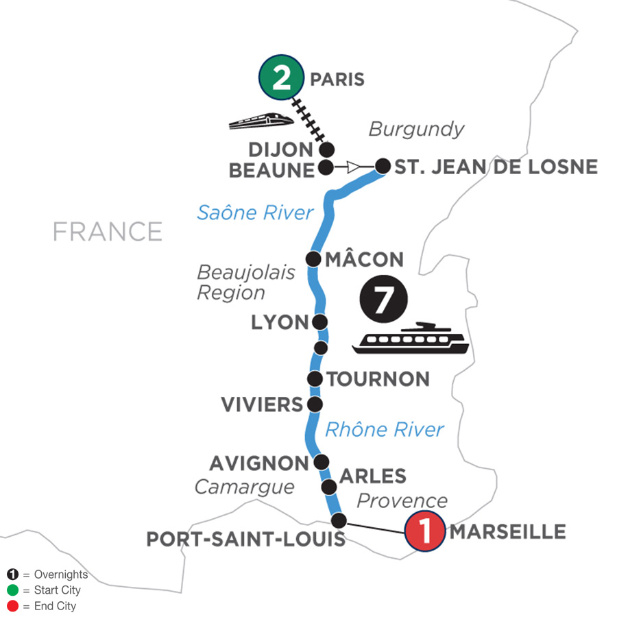 River Cruise Map of Burgundy & Provence with 2 Nights in Paris & 1 Night in Marseille for Wine Lovers (Southbound)