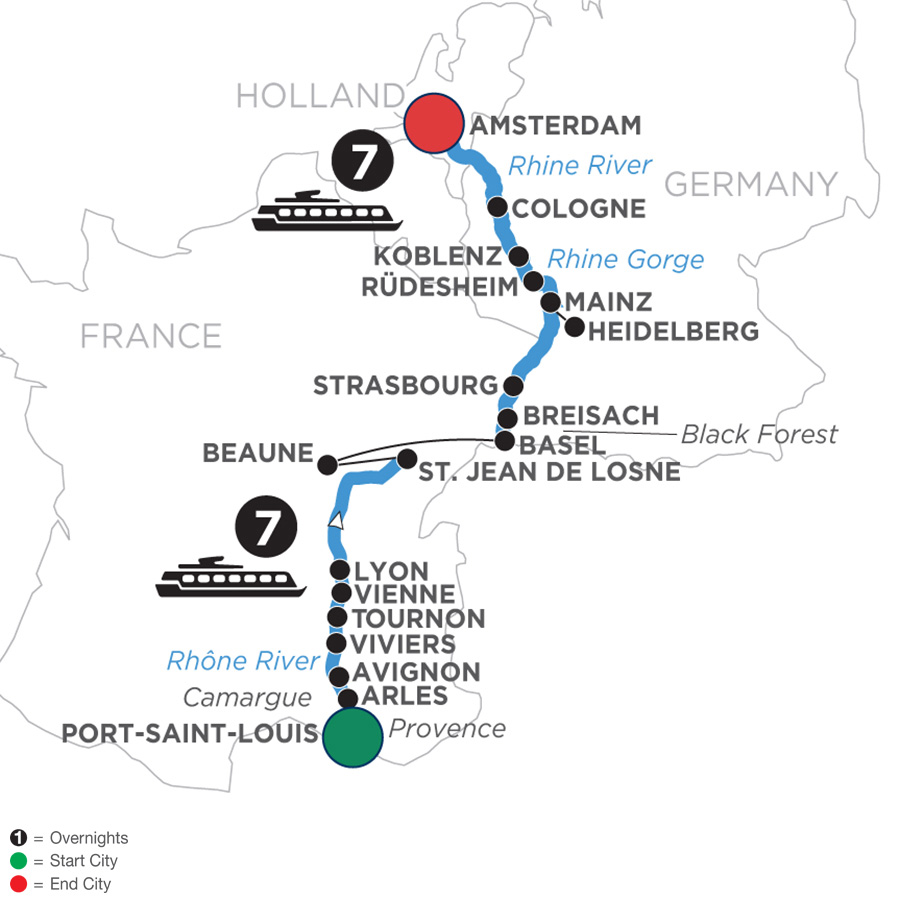 River Cruise Map of Rhine & Rhône Revealed with Jewish Heritage (Northbound)