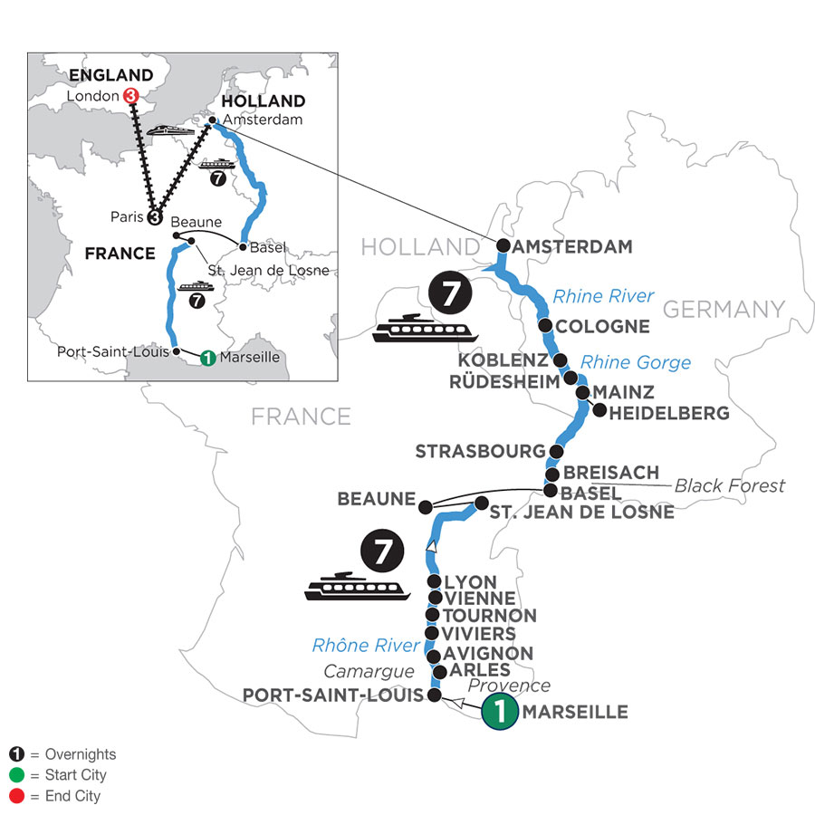 River Cruise Map of Rhine & Rhône Revealed with 1 Night in Marseille, 3 Nights in Paris & 3 Nights in London (Northbound)