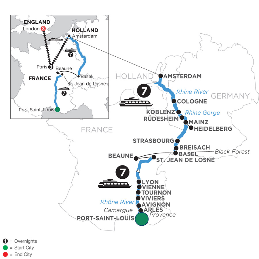 River Cruise Map of Rhine & Rhône Revealed with 3 Nights in Paris & 3 Nights in London for Wine Lovers (Northbound)