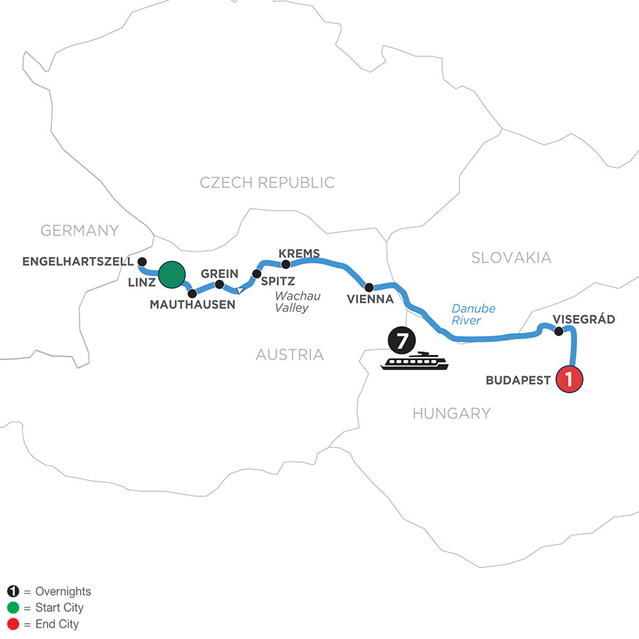 River Cruise Map of Active & Discovery on the Danube (Eastbound)