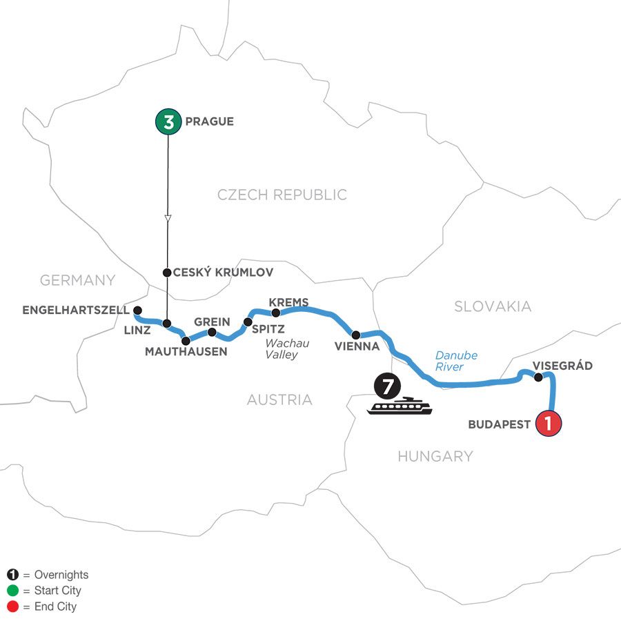 River Cruise Map of Active & Discovery on the Danube with 3 Nights in Prague (Eastbound)