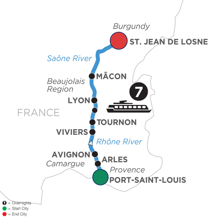River Cruise Map of Burgundy & Provence for Wine Lovers (Northbound)
