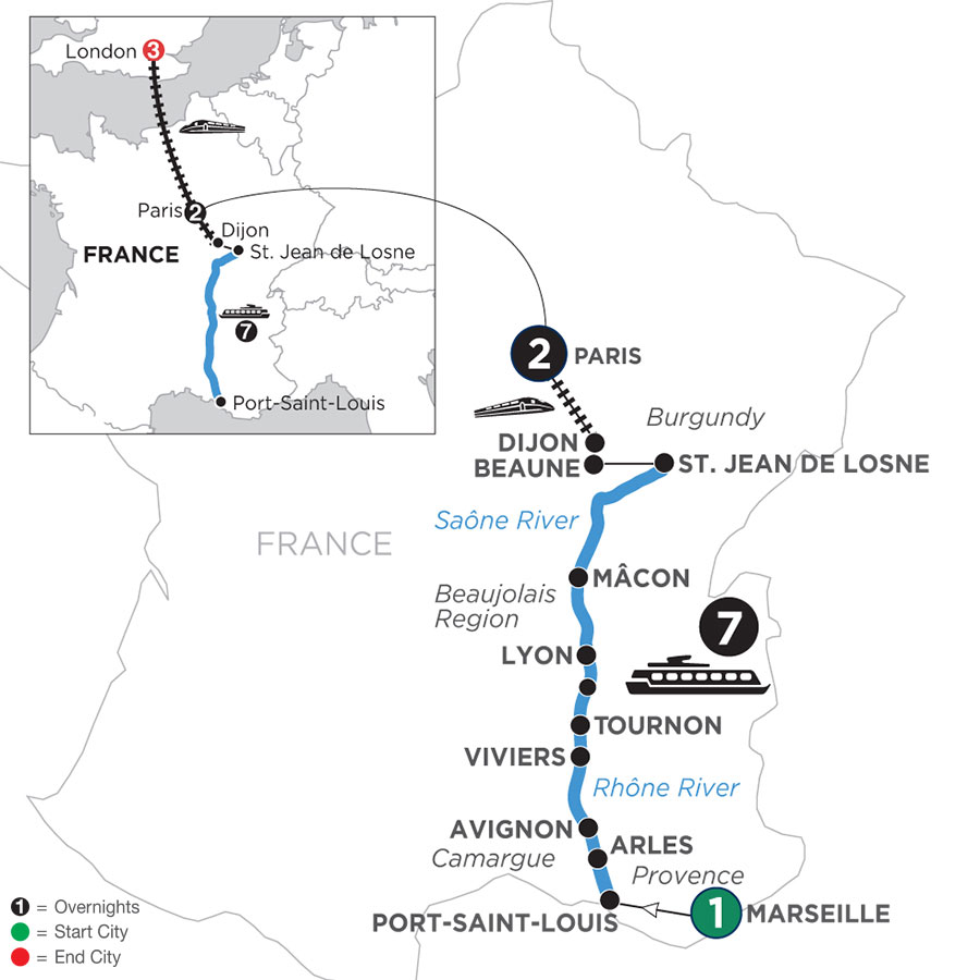 River Cruise Map of Burgundy & Provence with 1 Night in Marseille, 2 Nights in Paris & 3 Nights in London (Northbound)