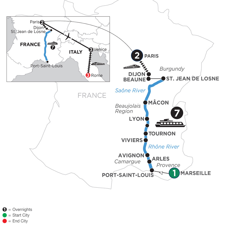 River Cruise Map of Burgundy & Provence with 1 Night in Marseille, 2 Nights in Paris, 3 Nights in Venice & 3 Nights in Rome for Wine Lovers (Northbound)