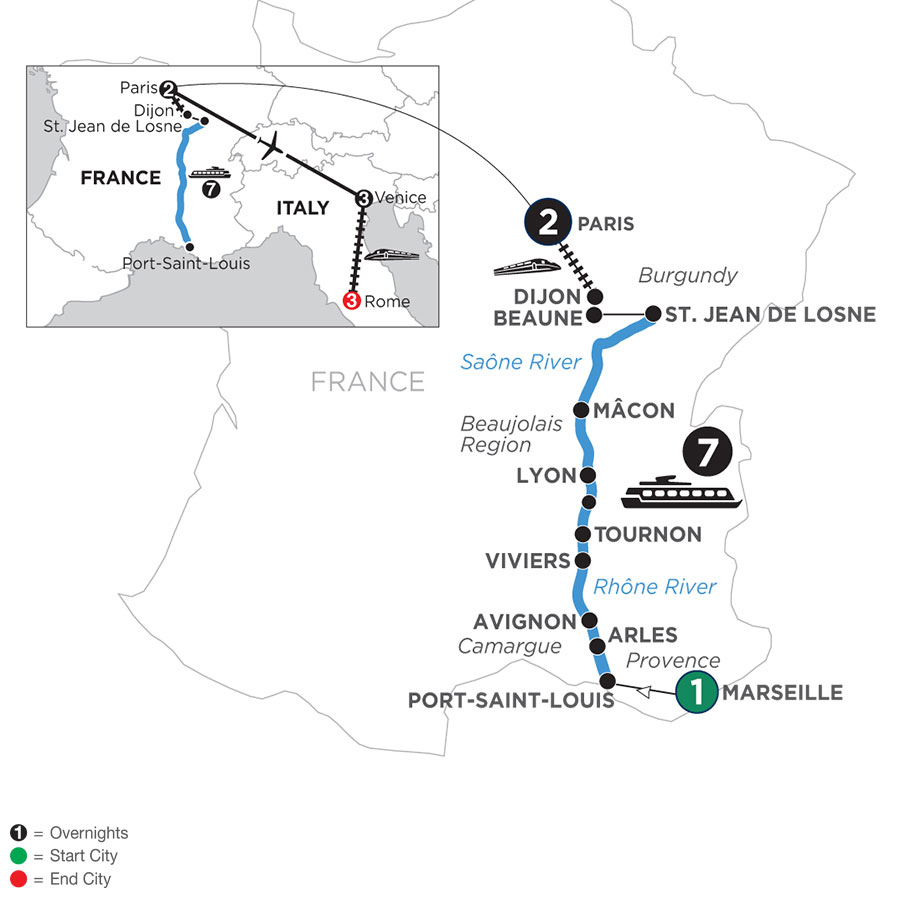 River Cruise Map of Burgundy & Provence with 1 Night in Marseille, 2 Nights in Paris, 3 Nights in Venice & 3 Nights in Rome (Northbound)