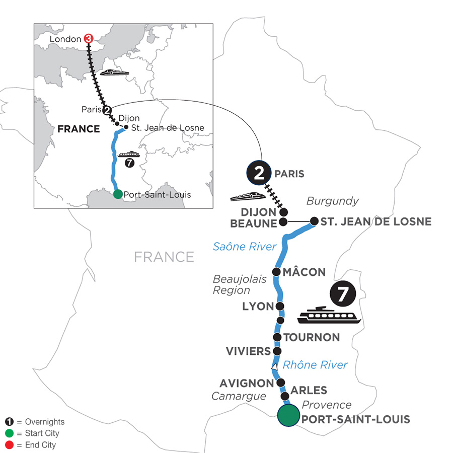 River Cruise Map of Burgundy & Provence with 2 Nights in Paris & 3 Nights in London for Wine Lovers (Northbound)