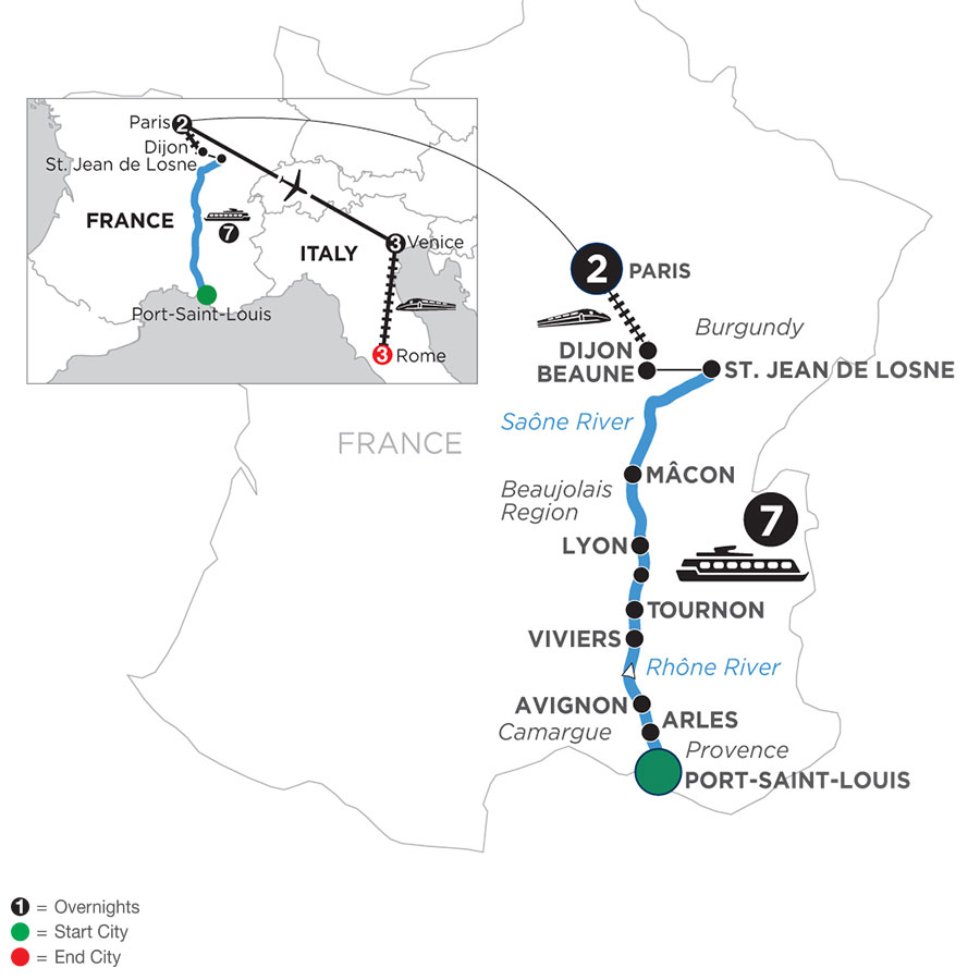 River Cruise Map of Burgundy & Provence with 2 Nights in Paris, 3 Nights in Venice & 3 Nights in Rome (Northbound)