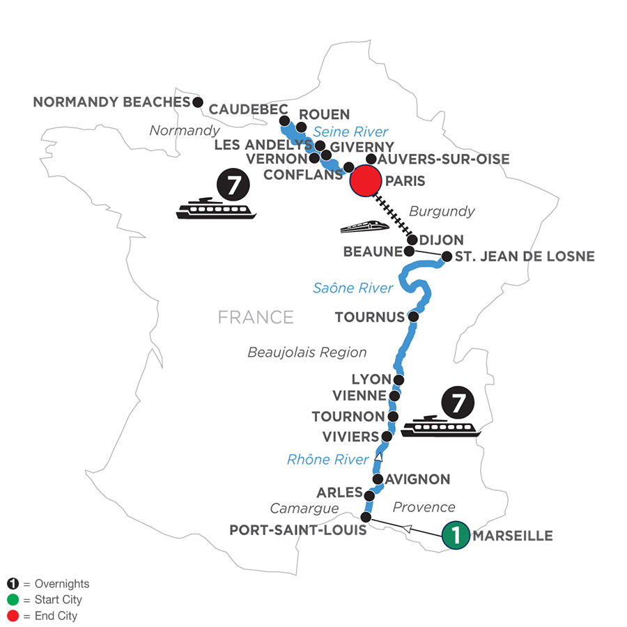 River Cruise Map of Grand France with 1 Night in Marseille for Wine Lovers (Northbound)