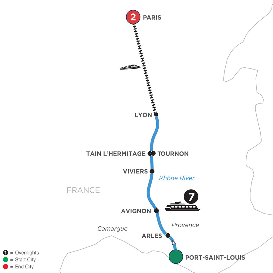 River Cruise Map of Active & Discovery on the Rhône with 2 Nights in Paris (Northbound)