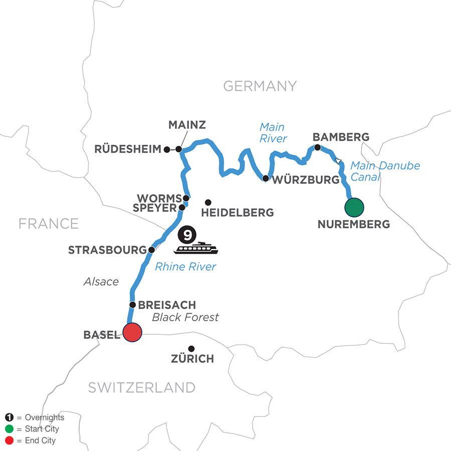 River Cruise Map of Christmastime from Basel to Nuremberg