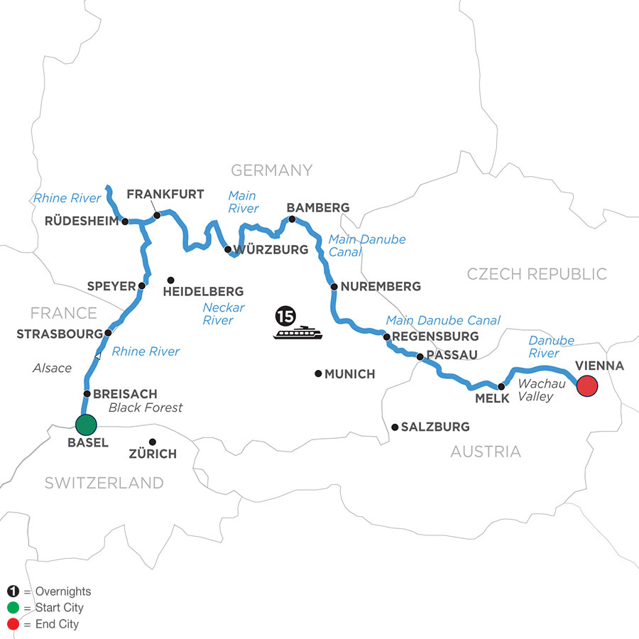 River Cruise Map of Christmastime from Basel to Vienna