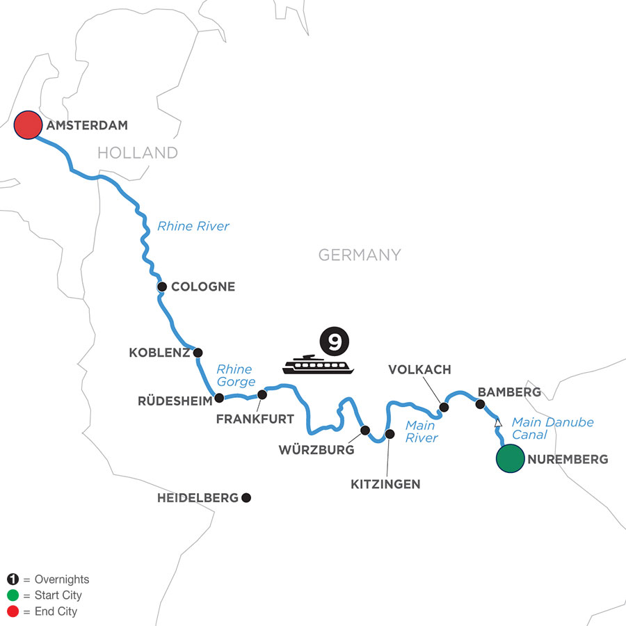 River Cruise Map of Grand German Sojourn (Westbound)
