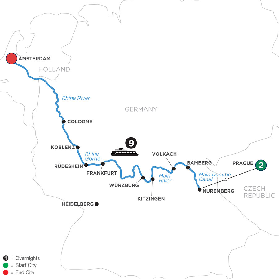 River Cruise Map of Grand German Sojourn with 2 Nights in Prague (Westbound)