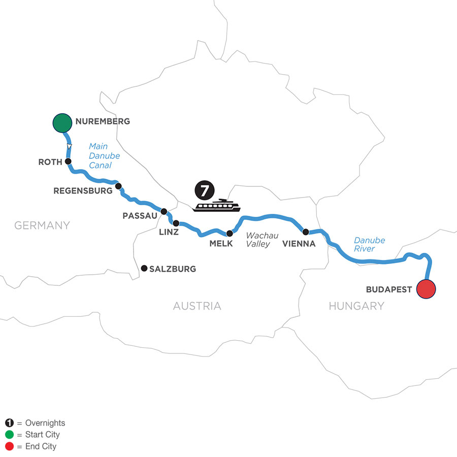 River Cruise Map of The Legendary Danube