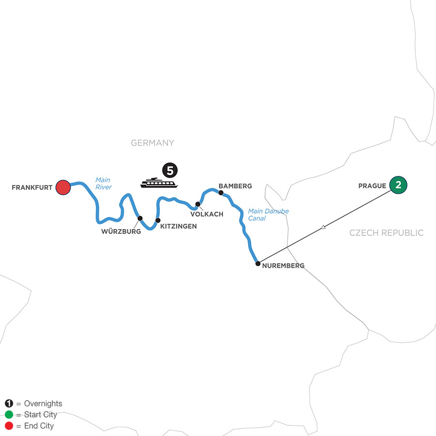 River Cruise Map of Festive Season in the Heart of Germany with 2 Nights in Prague (Westbound)