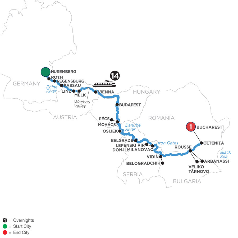 River Cruise Map of Danube Splendors