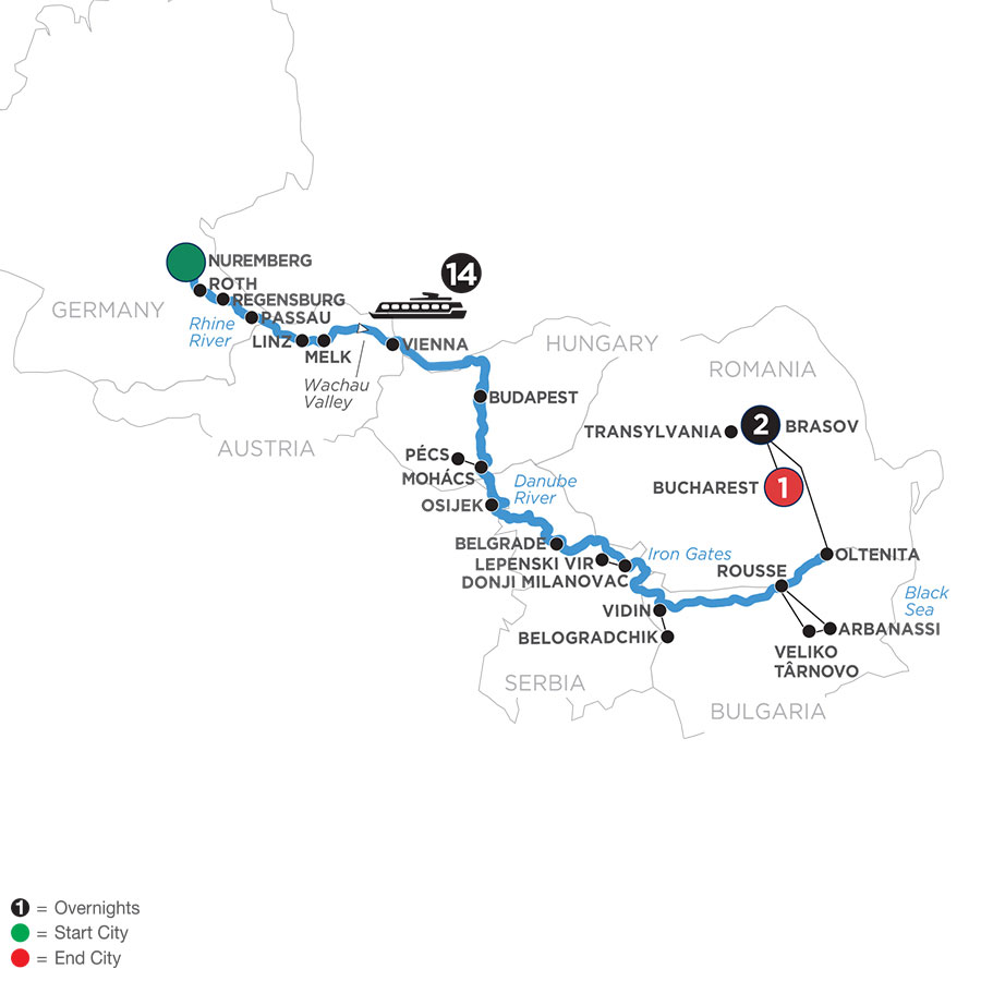 River Cruise Map of Danube Splendors with 2 Nights in Transylvania