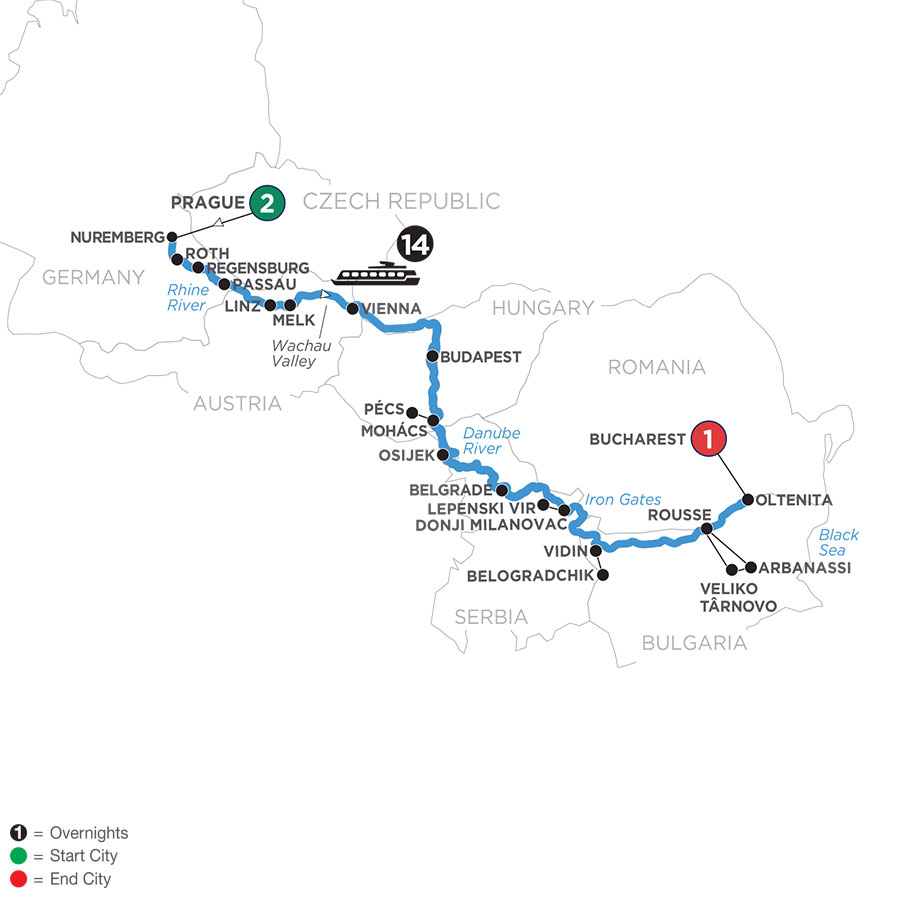 River Cruise Map of Danube Splendors with 2 Nights in Prague