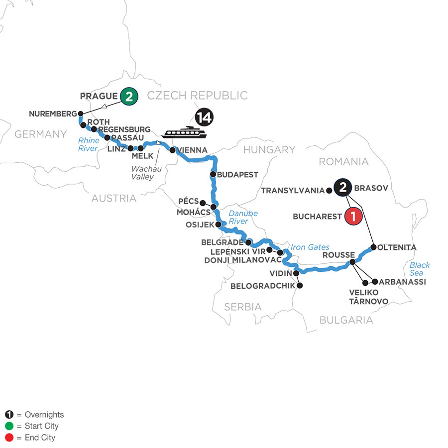 River Cruise Map of Danube Splendors with 2 Nights in Prague & 2 Nights in Transylvania
