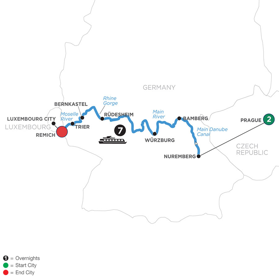 River Cruise Map of Central European Experience with 2 Nights in Prague (Westbound)
