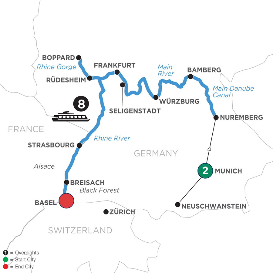 River Cruise Map of German Grandeur with 2 Nights in Munich (Westbound)