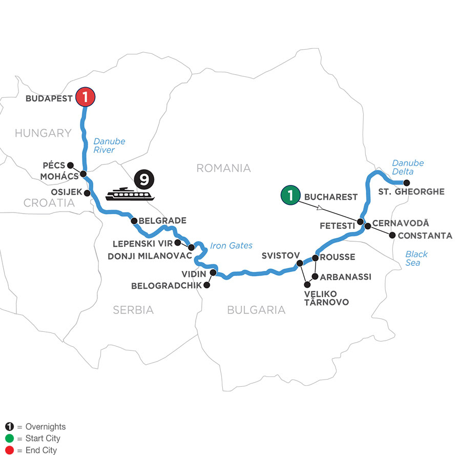 River Cruise Map of Danube from Black Sea to Budapest with 1 Night in Budapest