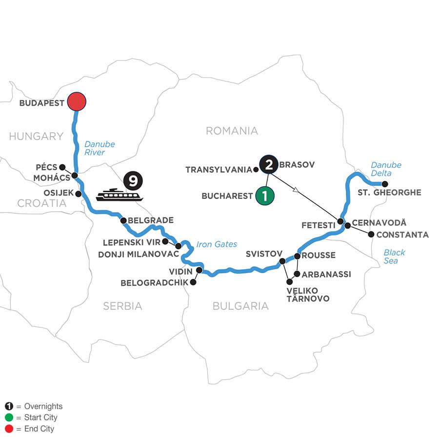 River Cruise Map of The Danube from Black Sea to Budapest with 2 Nights in Transylvania