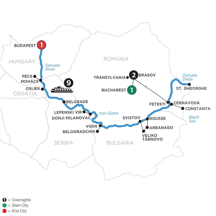 River Cruise Map of The Danube from Black Sea to Budapest with 2 Nights in Transylvania & 1 Night in Budapest