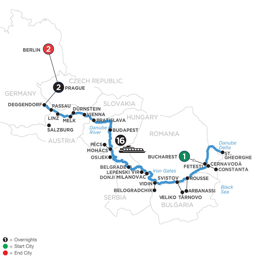 River Cruise Map of The Danube from the Black Sea to Germany with 2 Nights in Prague & 2 Nights in Berlin