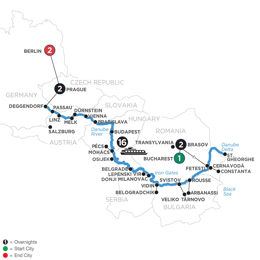 River Cruise Map of The Danube from the Black Sea to Germany with 2 Nights in Transylvania, 2 Nights in Prague & 2 Nights in Berlin for Wine Lovers