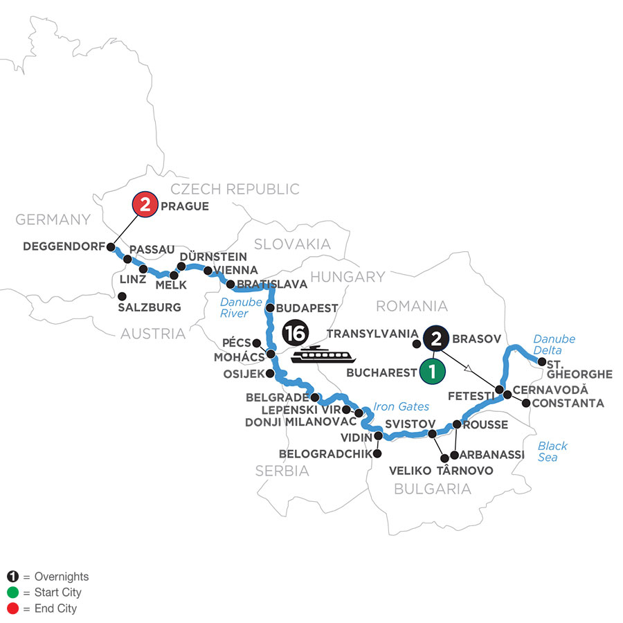River Cruise Map of The Danube from the Black Sea to Germany with 2 Nights in Transylvania & 2 Nights in Prague