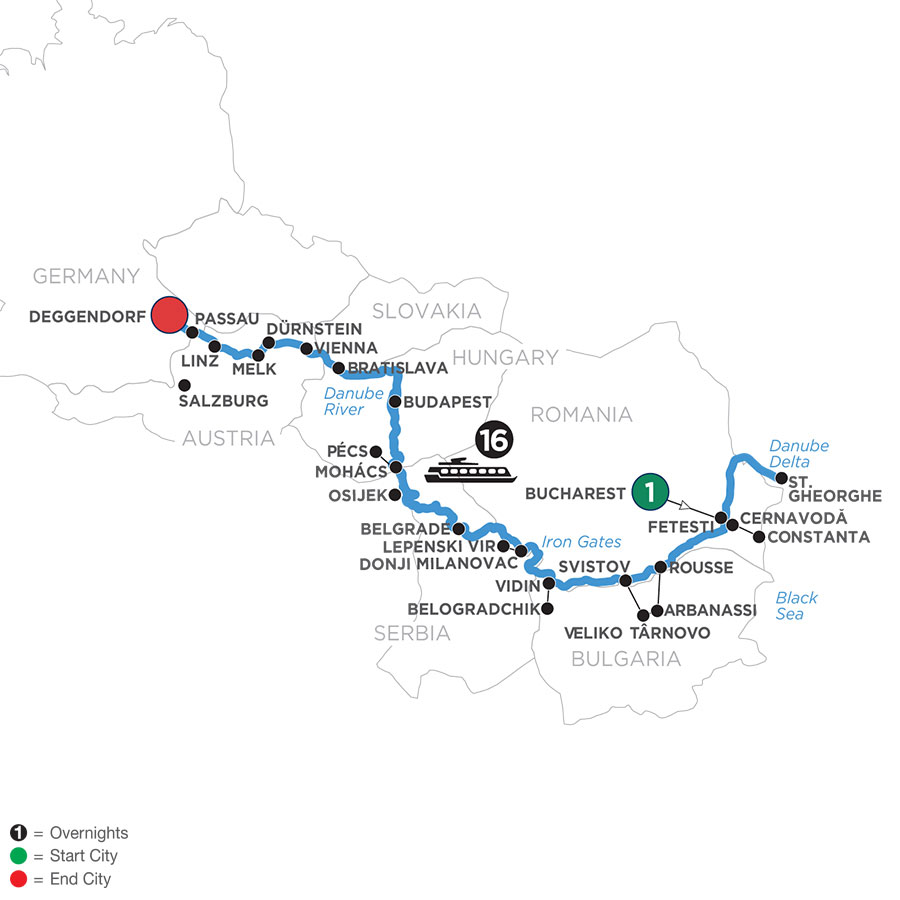 River Cruise Map of The Danube from the Black Sea to Germany